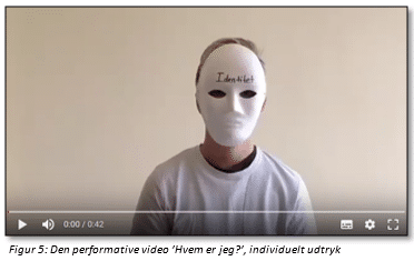 """Figur 5: Den performative video """"Hvem er jeg?"""", individuelt udtryk (stillbillede)"""