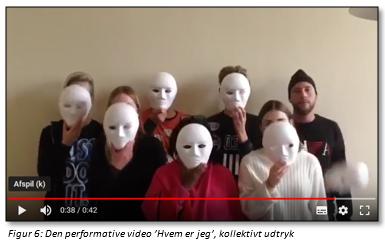 """Figur 6: Den performative video """"Hvem er jeg"""", kollektivt udtryk (stillbillede)"""