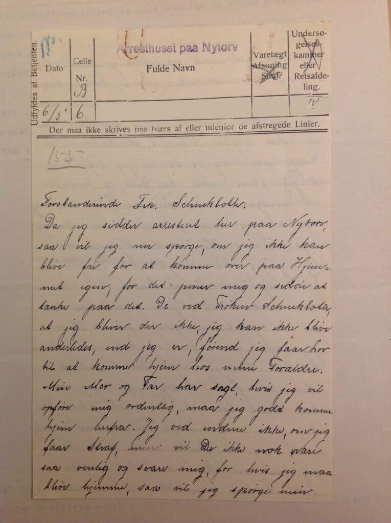Violas brev fra arresthuset efter at hun var løbet væk fra Vejstrup Pigehjem. (VPA 1908-1962, Rigsarkivet)